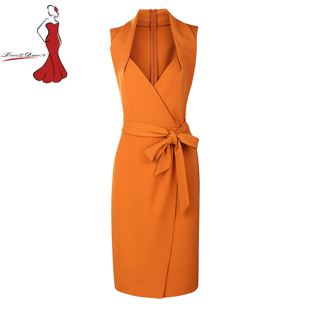 Sexy Club Dresses Solid Pencil Dress Deep V Neck Sleeveless Orange Color  Sashes Knee Length