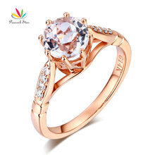 Peacock Star 14K Rose Gold Wedding Engagement Ring 1.2 CT Topaz 0.1 Natural Diamonds