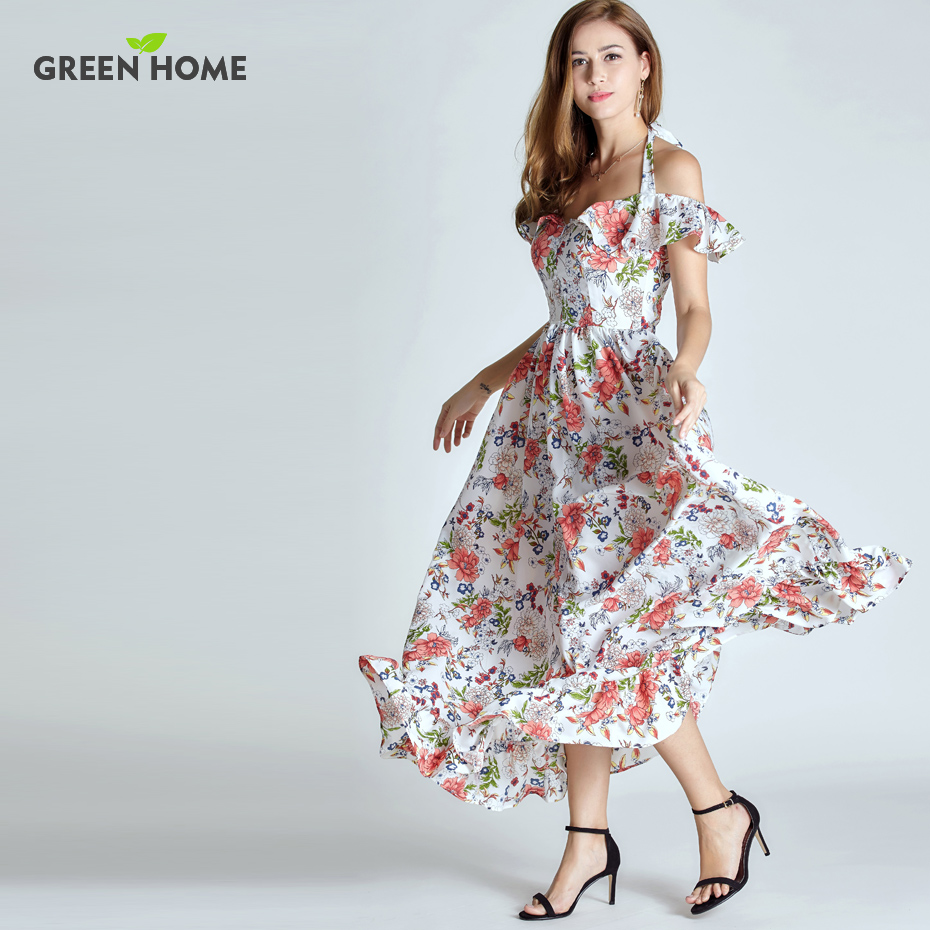 Green Home Summer Floral Breastfeeding Nursing Long Dress Elegant Breastfeeding Dress Off-The-Shoulder Women Maternity Dresses chic off the shoulder asymmetrical women s blouse