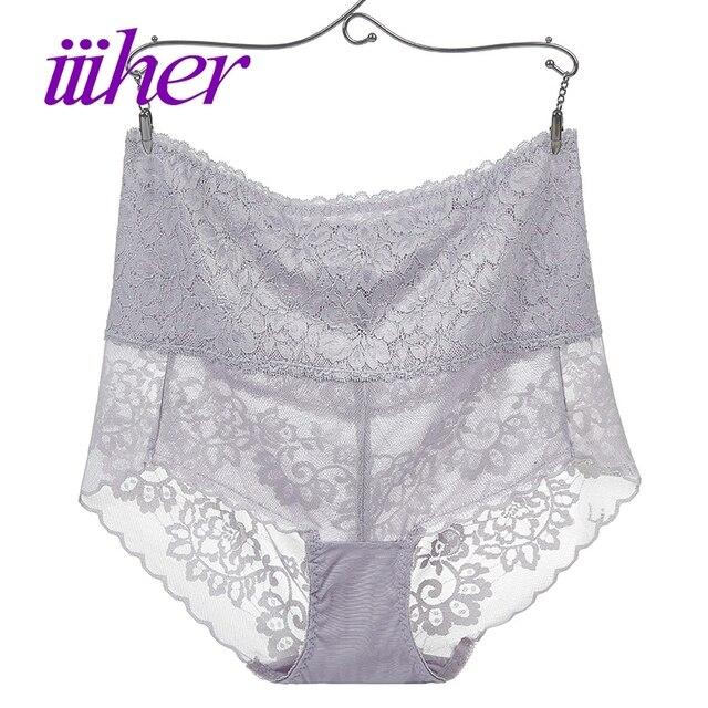 49f0bd424bedb iiiher High Waist Lace Underwear Women Briefs Plus Size Sexy Transparent  Underwear Ladies Panties Seamless Briefs for Women
