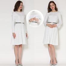 Демисезонный с длинным рукавом для будущих мам кормящих Костюмы в стиле пэчворк одежда для кормления с длинным рукавом платье для беременных Для женщин