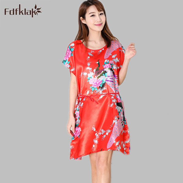 0f06020caa Sexy Women Sleepwear Nightwear Shirt Sleep Night Dress Nightgown Ladies  Fuax Silk Summer Fashion O-Neck Sleep Nighties E1134