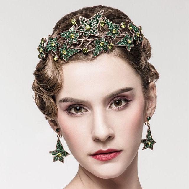 2017 Europeo Nueva Moda Barroca Joyería Del Pelo de la Tiara De Novia Noiva Tiara Corona Pendientes Belleza Boda Accesorios Nupciales Del Pelo