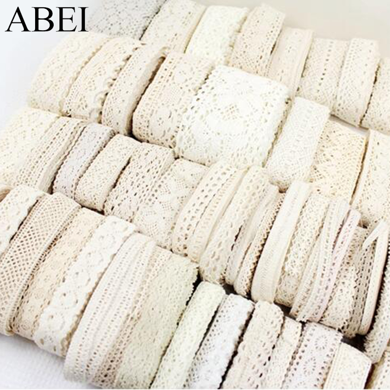 1-3.5cm 10yards Random Mix White Beige Cotton Lace Trims DIY Hometexile Clothes Edge Wrapping Cotton Ribbon Tape Cotton Material(China)