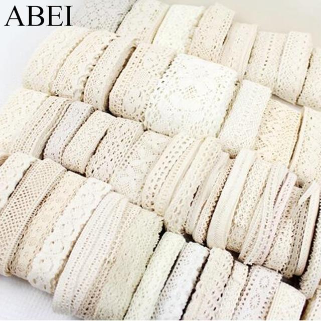 1-3.5 cm 10 metre Rastgele Mix Beyaz Bej Pamuk Dantel Trimler DIY Hometexile Giysi Kenar Sarma Pamuk Şerit bant Pamuk Malzeme