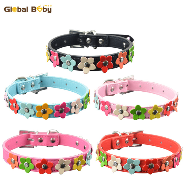 New Fashion PU Leather Dog Collar One Row Sun Flower Studded Small Dog Pet Teddy Necklace Collar 1