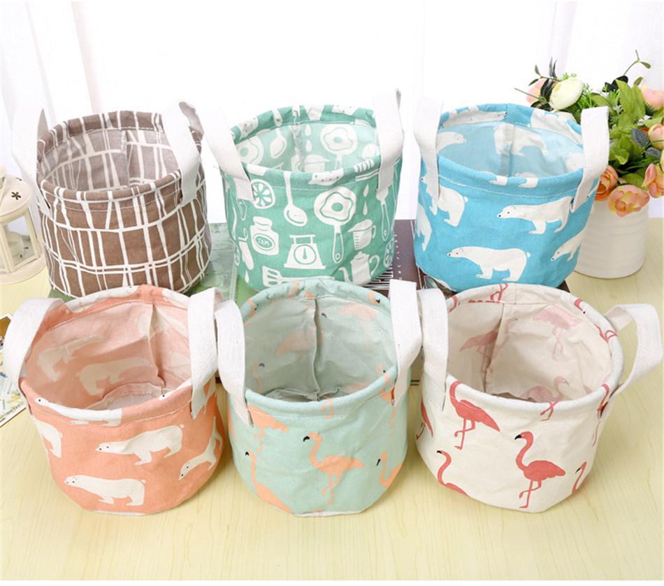 Cute Printing Cotton Linen Desktop Round Storage Organizer Sundries Box Cabinet Underwear Jewelry Cosmetic Stationery Basket (11)