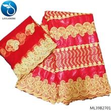 LIULANZHI african bazin batik fabric wholesale brocade red color embroidery design dress high quality ML39B27