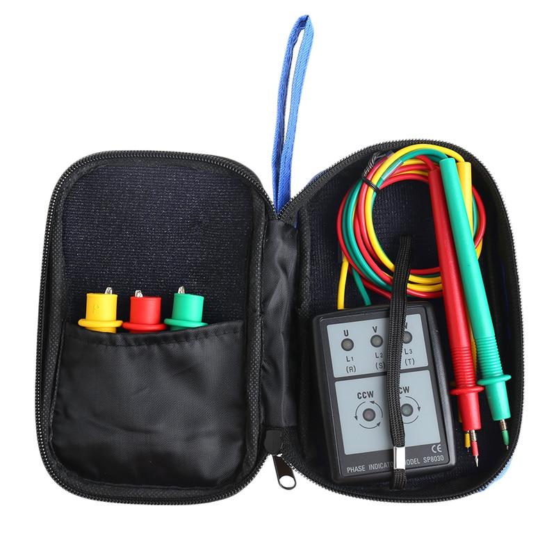 Aletler'ten Voltaj Ölçerler'de Akıllı dijital faz dönme LED göstergesi test cihazı metre SP8030 title=