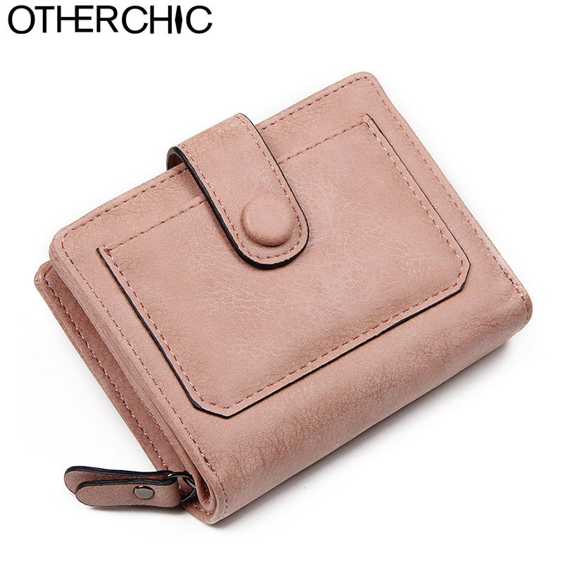 OTHERCHIC Nubuck Leather Women Short Wallets Ladies Small Wallet Zipper Coin Purse Female Credit Card Wallet Purses Bag 6N12-35 women coin purses short coin bag female small purse patent leather clutch wallet ladies mini purse card holders porte monnaie