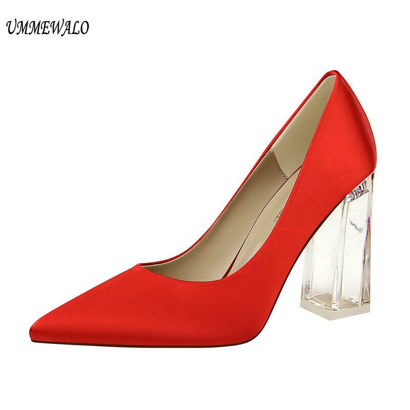 UMMEWALO Women s High Heels Shoes New Arrival Solid Silk Design Pointed Toe Pumps Women Super