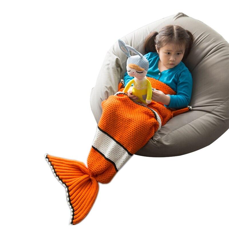 Clownfish Knitted sofa baby mermaid tail blanket sleeper bed for baby blankets girls children kids bedding sleeping bag scales