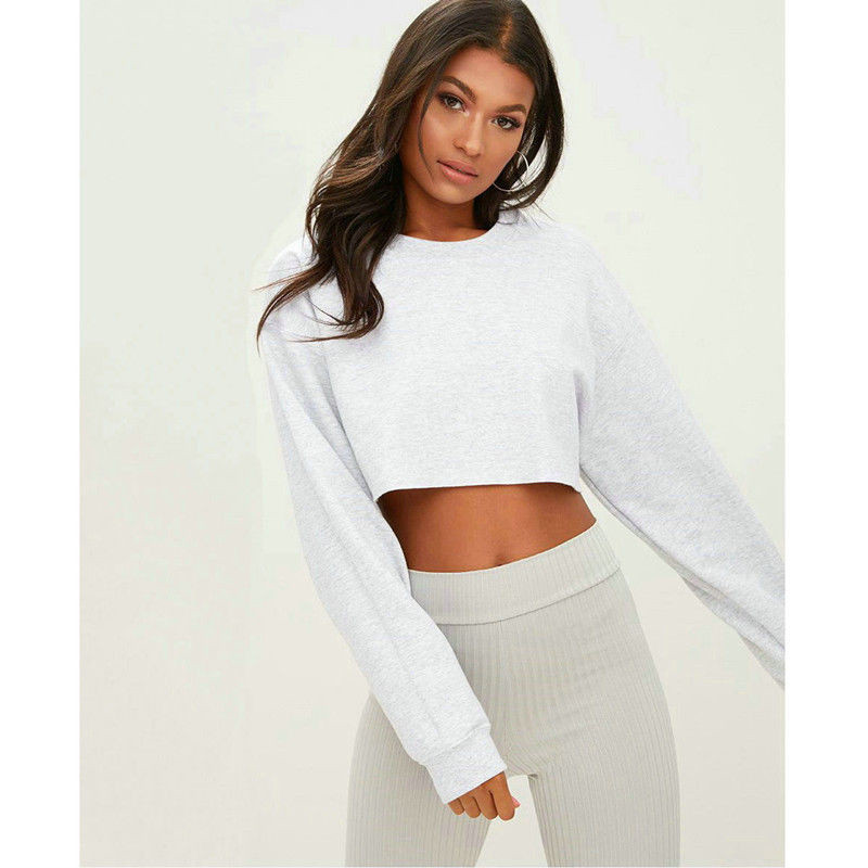 Women Solid Sweatshirts Fashion Autumn Clothings 2018 Ladies Long Sleeve O Neck  Short Slim Pullover Top Crop Top Casual Outwear