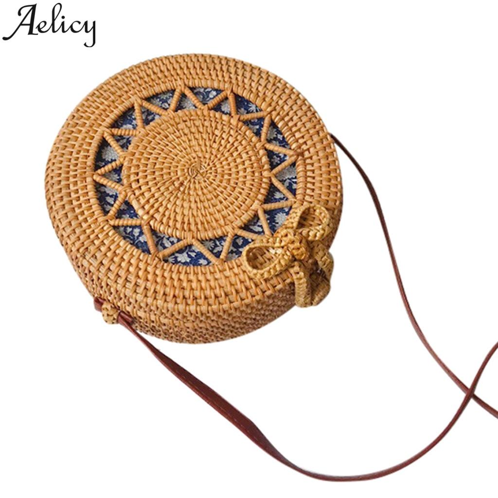 Aelicy Circle Handwoven Bali Round Retro Rattan Straw Shoulder Bags Clutch Bag For Women Messenger Bags Handbag Beach Bag Сумка