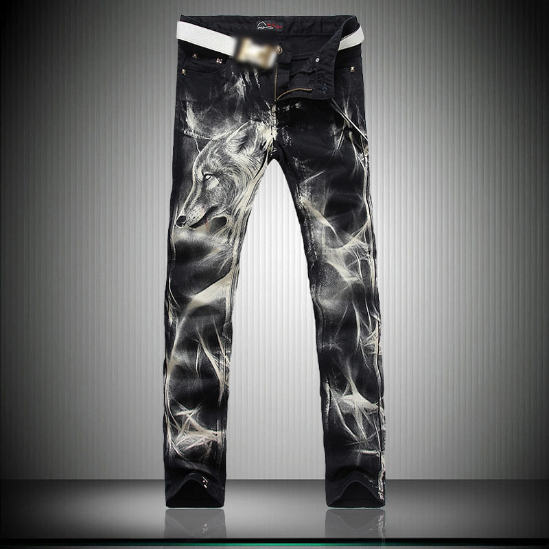 Nye 2018 Mænds Trykte Jeans Punk Style Gothic Painted Cotton - Herretøj - Foto 6