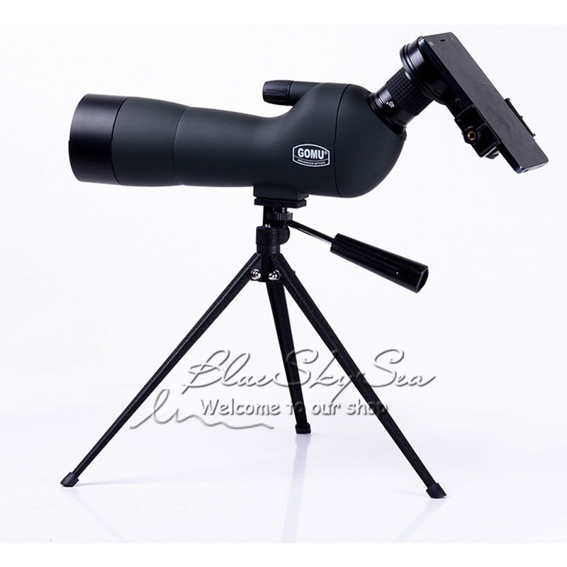 GOMU 20-60x60 AE Spotting Scope Full FBMC Multi-Coated Monoculars Telescope w/Tripod + CellPhone Adapter Accessory brand gomu 20 60x60 hd zoom high quality precision spotting scope telescope tripod connection mobile phone adapter bird watchin
