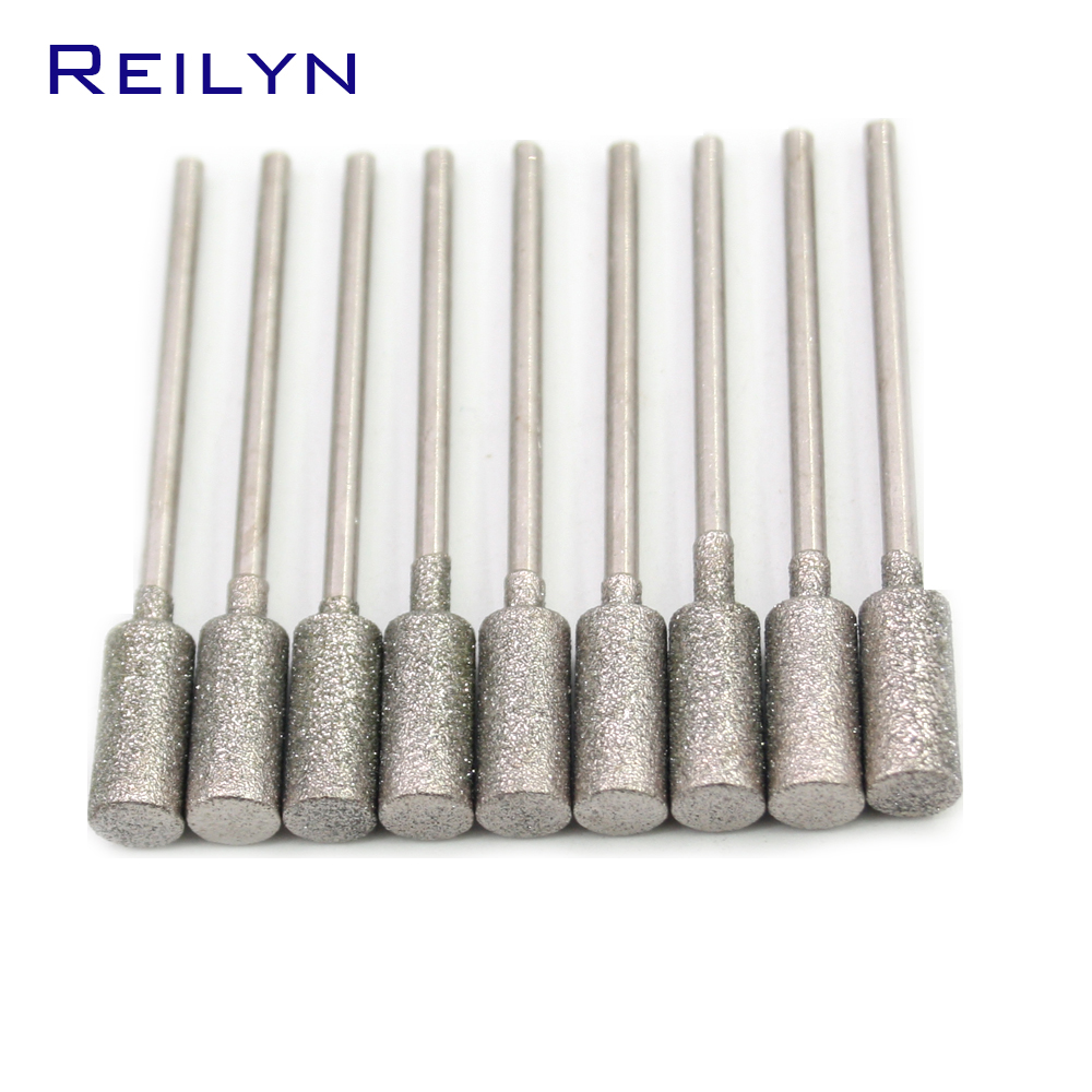 A-Type Cyliner Diamond Grinding Burr Teeth Grinding Bits Jade Stone Abrasive Point For Die Grinder/dremel/rotary Tools