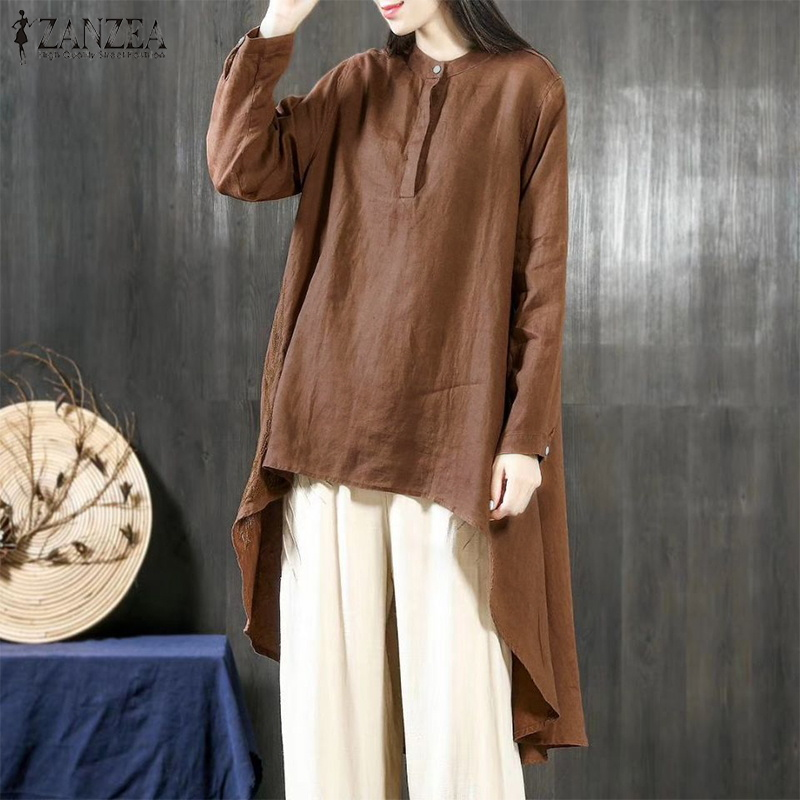 ZANZEA 2018 Vintage Asymmetrical Hem Blouse Women Solid Linen Top Female Button Down Shirt Ladies Casual High Low Hem Blusas 5XL