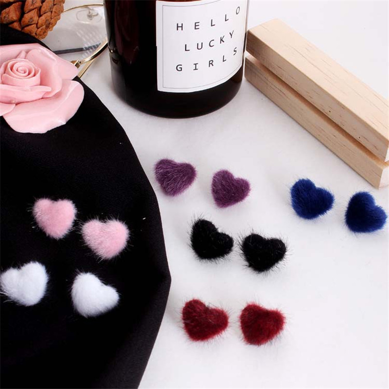 charm Cute Candy Color Plush Ball Stud Earrings For Women Korean Velvet Heart Star Round