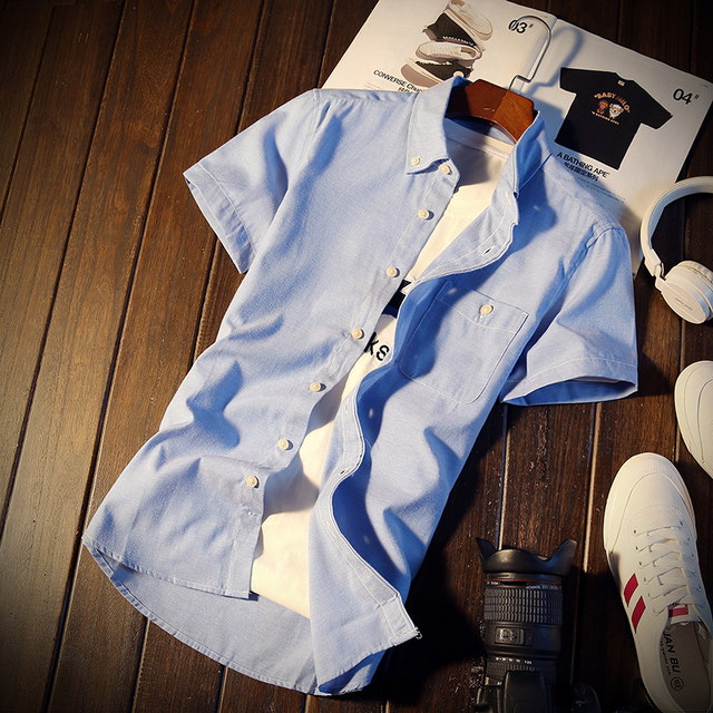 Solid 6 Colors M-5XL 2017 New Style Short Sleeve Mens Dress Shirts Male Clothes Social Casual Shirt Men Brand 2017 C160