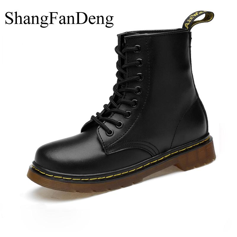 Leather Boots Men Winter Shoes Ankle Non-slip Boots Comfortable Motorcycle Boots High Quality High Snow Boots Warm Botas Hombre