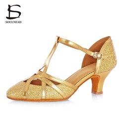 المرأة اللاتينية قاعة أحذية التانغو السالسا الرقص أحذية عالية الكعب 5 سنتيمتر الجملة الفتيات الرقص أحذية الذهب قاعة الرقص الصنادل