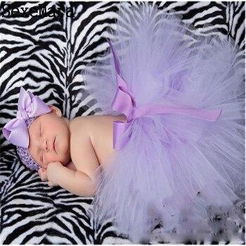 Newborn Photography Props Skirt Infant Costume Floral Headband + Skit Princess Tutu Baby Photo Props Newborn Photo 3