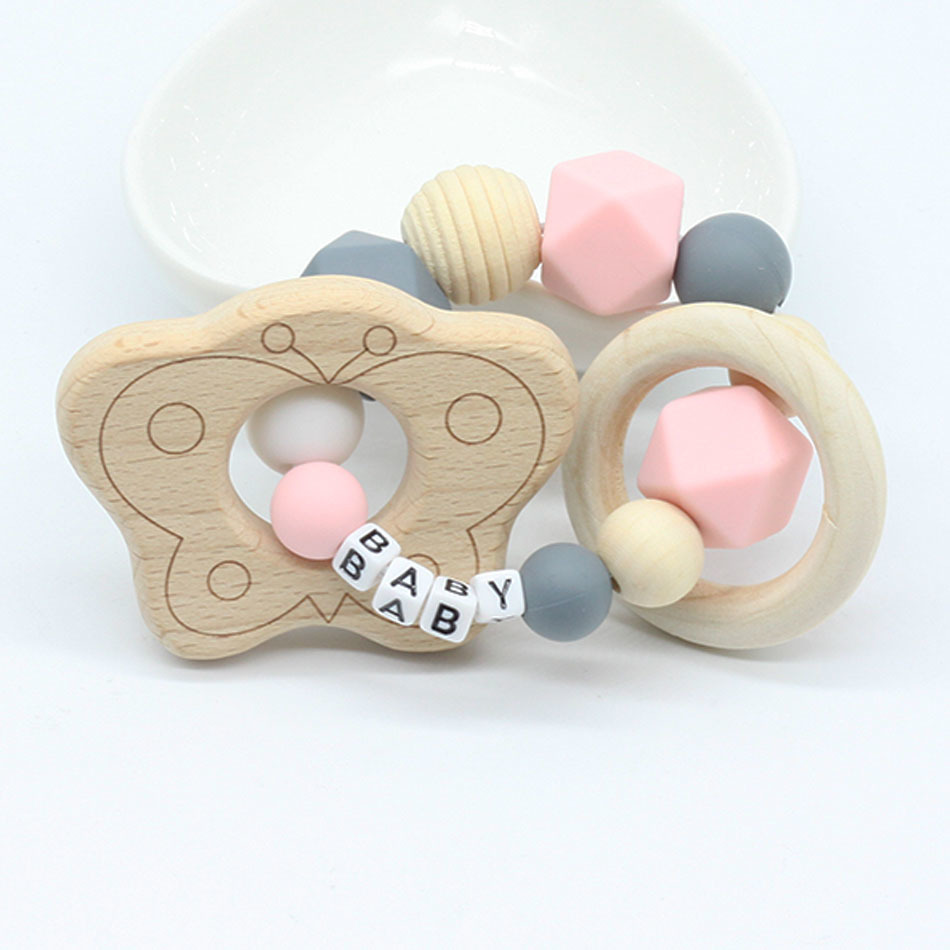 Personalized Name Teething Ring Wooden Bird Teether Baby  Gift  Choose Your Colour  Teething Toy Baby Shower Gift Natural Toy
