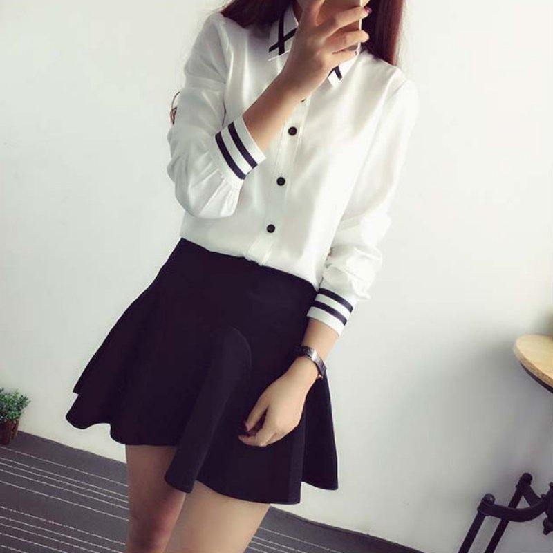 2019 Spring Summer Womens Office Lady Turn-down Collar Long Sleeve School   Blouse   Cotton Soft Casual White Plus Size   Shirt   Tops