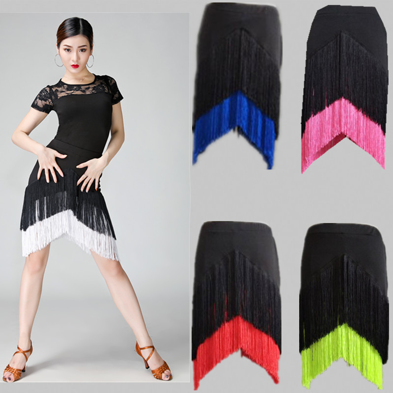 Hot Sale Adult Lady Dance Skirt Double Tassel Latin Dance Skirts Fringed Skirt Female Irregular Modern Cha Cha/rumba/tango XXXL