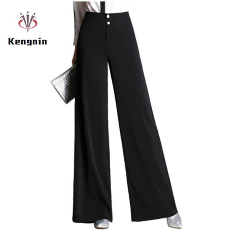 2019 Autumn Winter High Waist Style Women Wide Leg Pants Loose Casual Black OL Suit Trousers Button Fly Female Street Carips