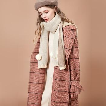 ARTKA 2018 Autumn and Winter Women Vintage Plaid Coat Lapel Single-breasted Woolen Coat FA15085D
