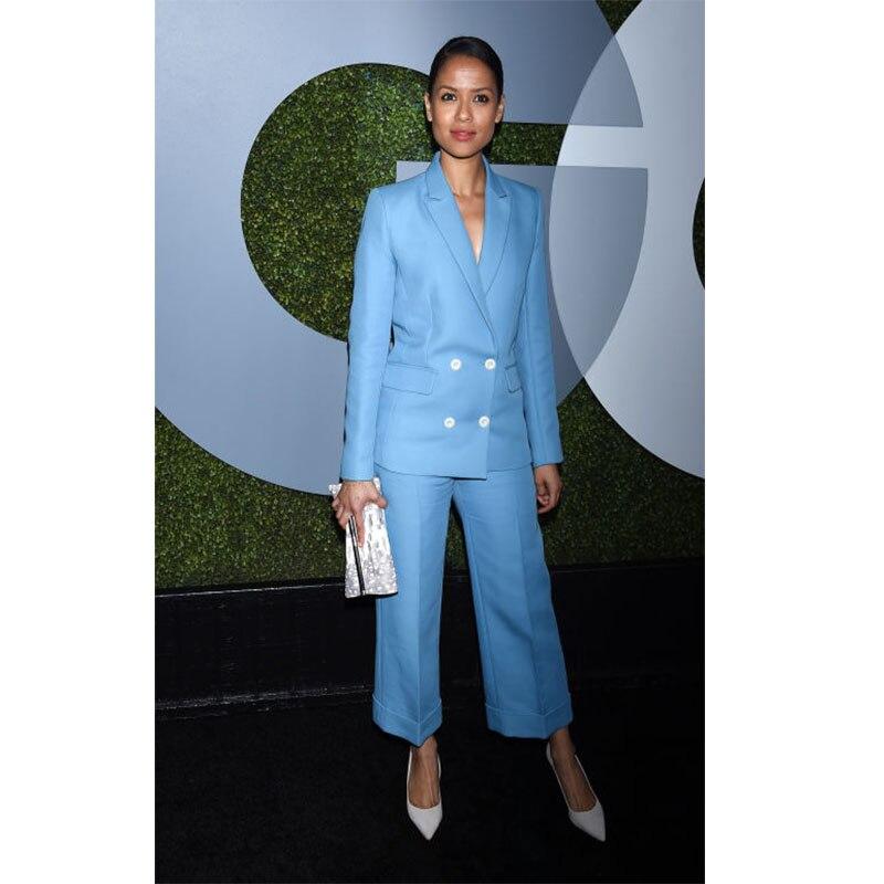 Pants suit sky blue womens business suits double breasted ladies elegant pant suits slim fit female office Pants suit custom