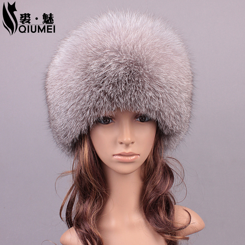 ФОТО Winter Real Fur Hats For Women Fox Fur Girls Hat Patchwork Casual Warm Lovely Caps Beanies Women 2016 New Russian Hat