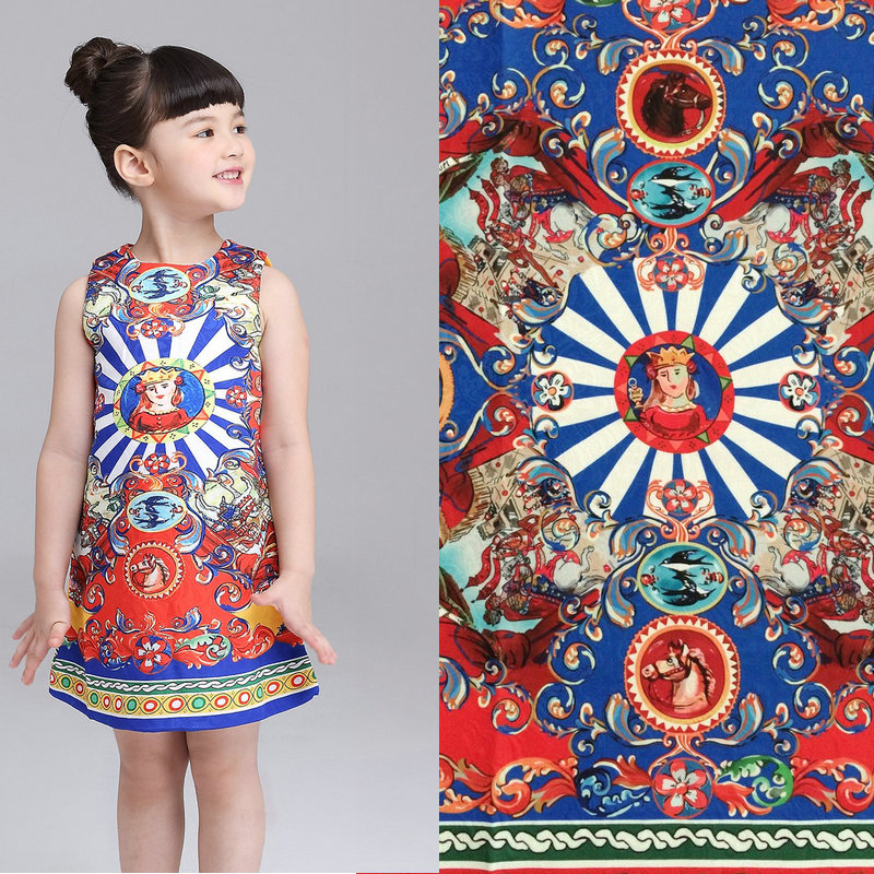 General and horse printed thick jacquard fabric,sicily women and kids dress polyester fabric, 1 piece 80cm length fabric pattern