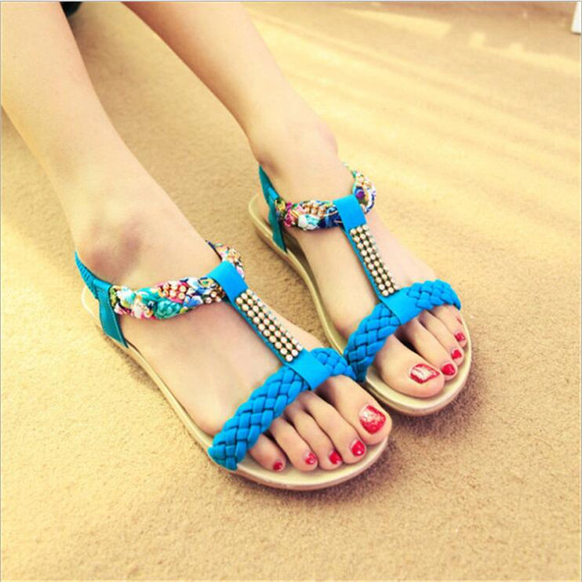 2017  Fashion Summer Stripe weaving Bohemian Style With Flat-Bottomed Fish Head Shoes Four Color Sandals For Women .HYKL-668