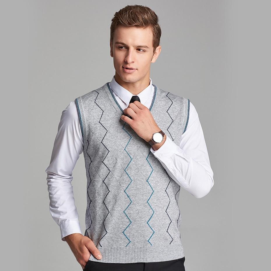 Asiatische Größe Männer Wolle Pullover Pullover Sleeveless Grundlegende Stricken Weste Tank Gestreiften Stilvolle Mode Lässig V Neck Hb511
