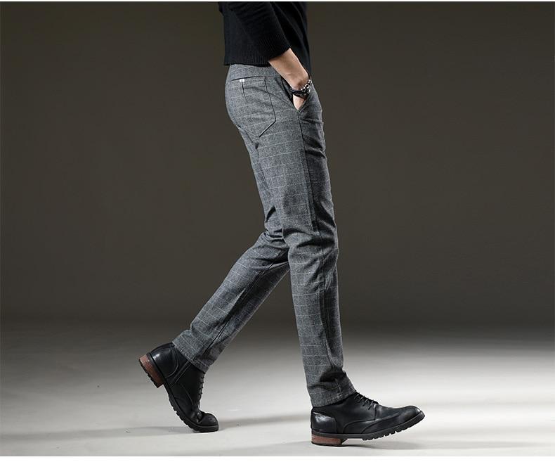 HTB1tjUZJ7KWBuNjy1zjq6AOypXav jantour Brand Pants Men Casual Elastic Long Trousers Male Cotton lattice straight gray Work Pant men's autumn Large size 28-38
