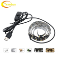 USB 5V LED Strip 5050 TV Background Lighting 60LEDs/m Warm White / White whit Switch 50cm / 1m / 2m Set