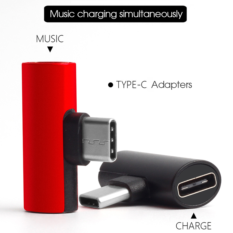 2 In 1 Type-C USB-C Audio Charging Dual Adapter AUX Splitter Charger Earphone AUX Cable Connector Converter Adapter For Android