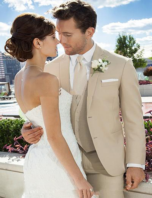 2018 Custom Beige Wedding Suit For Men Notched Lapel Mens Suits ...