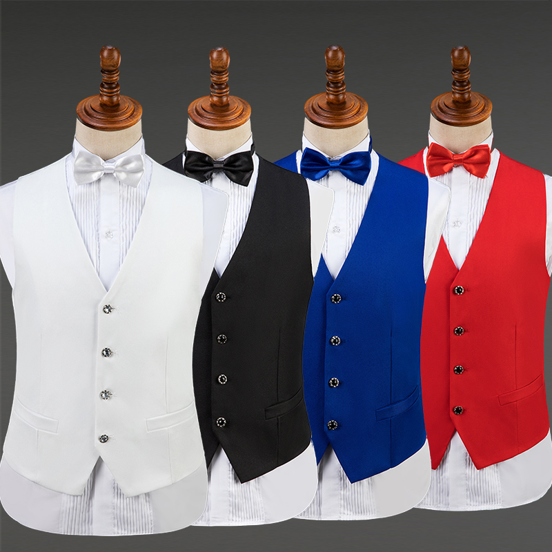 Men Jacket Vest Suit Male V-Neck Coat Adult Wedding Clothes Birthday Evening Party Bar Dj Ds Costume Man Stage Show Wear DT742