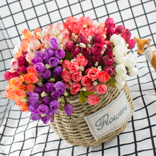 Zinmol Colorful Silk Artificial Flowers 15 Head Mini Rose Home Decor For Wedding Small Roses Flower Bouquet Decoration