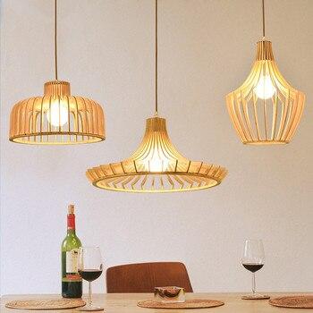 Скандинавское дерево клетка светильник лампа для столовой Современная Короткая Деревянная Бар Ресторан подвесной светильник
