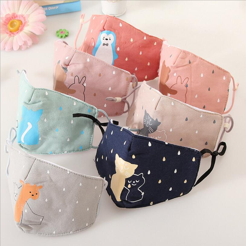3-12 Y Cartoon Animals Kids Cotton Mask Anti-pollution Cute Children Mouth Mask Cycling Wearing Windproof Anti-Dust Face Masks