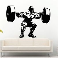 DCTAL Gym Sticker Fitness Barbell Muscle Crossfit Decal Body building Posters Vinyl Wall Decals Parede Decor Mural Gym Sticker