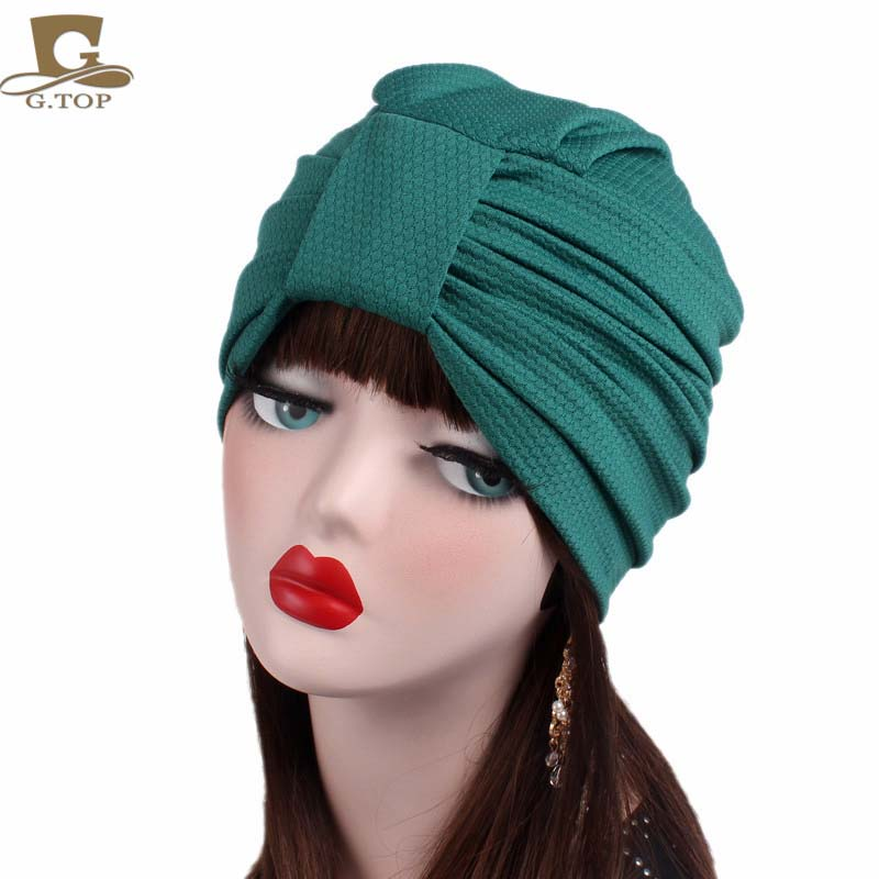 New women luxury knotted Turban Hat Stylish Chemo cap skullies Indian cap chemo bandana Wrap cancer hat Cap Chemo Hair Loss cap chemo skullies satin cap bandana wrap cancer hat cap chemo slip on bonnet with ribbon 8 colors 10pcs lot free ship