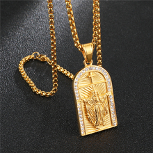 HIP Hop Rhinestone Geometric Jesus Cross Necklaces & Pendants For Men Women Jewelry Pendant Necklace