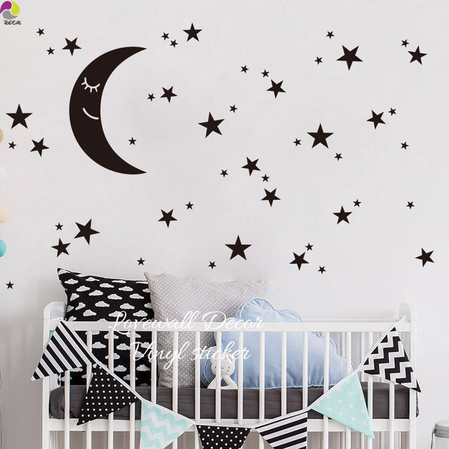 Cartoon Moon Star Wall Sticker Kids Room Baby Nursery Cute Es Stars Decal