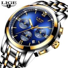Montre Homme Watch Men Luxury Brand LIGE Chronograph Sport Waterproof Full Steel Quartz Watches Relogio Masculino